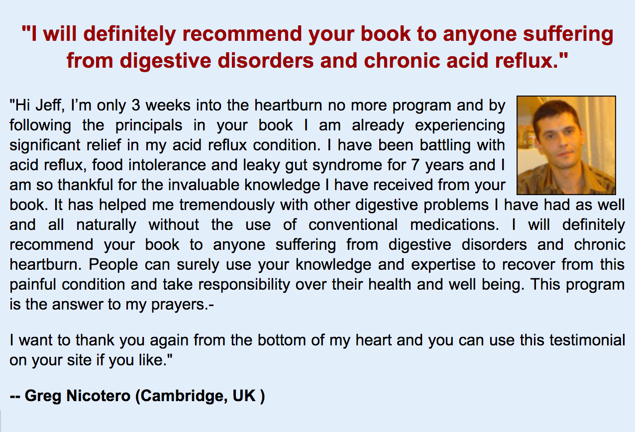 acid reflux treatment testimonial